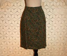 Olive Green Skirt Paisley Skirt Hipster 80s Skirt by MagpieandOtis