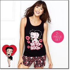 Betty Boop PJ Set* No one does sexy and sweet like Betty Boop. Full cotton jersey short with an elastic waistband and a brushed-jersey tank (cotton and polyester) with heart-elastic trim. #avon #sleepwear #bettyboop www.youravon.com/dsheckler