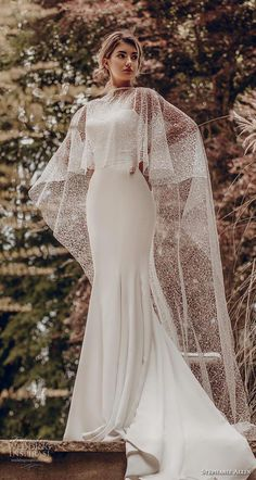 stephanie allin 2019 bridal sleeveless spaghetti strap sweetheart neckline simple minimalist elegant fit and flare wedding dress with cape chapel train (9) mv -- Stephanie Allin 2019 Wedding Dresses | Wedding Inspirasi #wedding #weddings #bridal #weddingdress #bride ~