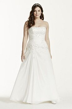 David's Bridal: Chiffon over satin gown with side draped skirt.