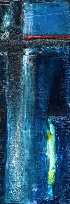 Into The Blue  No. 2... Original Painting on recycled reclaimed wood by Kathy Morton Stanion