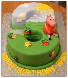 Peppa Pig, birthday cake by Fondant Fancy Tortas Peppa Pig, Peppa Pig Cakes, Peppa Pig Birthday Cake, 3rd Birthday, Birthday Ideas, Number 3 Cakes, Cake Shapes, Cupcake Cakes, Cupcakes