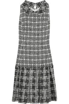 Oscar de la Renta Bouclé-tweed and silk-blend chiffon dress | NET-A-PORTER