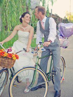 Bride and Groom on Vintage Bicycles