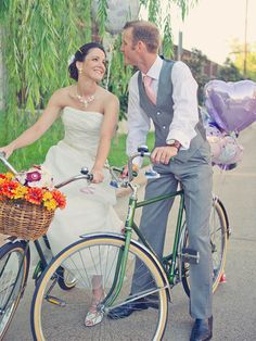 Bride and Groom on Vintage Bicycles