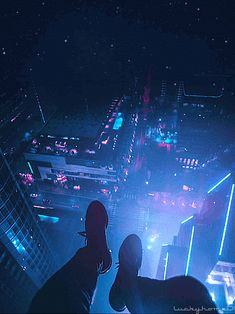 Not even fear of heights ! Aesthetic Images, Aesthetic Anime, Aesthetic Wallpapers, Neon Aesthetic, Anime Scenery Wallpaper, Wallpaper Backgrounds, Animes Wallpapers, Cute Wallpapers, Sad Anime