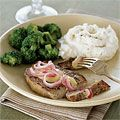 You've never had #porkchops like this. A #creamy #mustard #sauce made with #peach jam and #redonion makes this dish unique. #recipes #lowcalorie