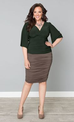 Take your pencil skirt collection to the next level at a great cost with our plus size Riley Ruched Skirt, on sale now.  Soft jersey material, fabulous ruching and a killer silhouette creates the perfect skirt.  Shop and save on more items at www.kiyonna.com.  #KiyonnaPlusYou  #MadeintheUSA