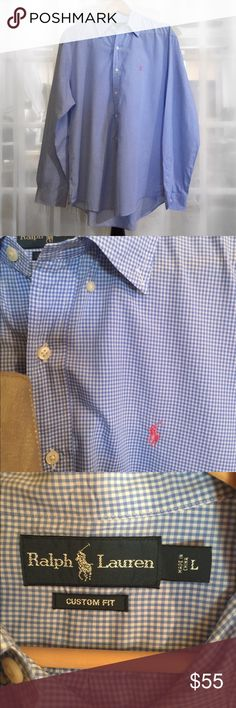 Ralph Lauren Light Blue Gingham Button Down Shirt Very versatile and beautifully made Button Down by Ralph Lauren pairs great with a suit and tie or casual with jeans. Signature polo emblem stitched in soft pink. Relaxed fit, in Like New condition. Ralph Lauren Shirts Dress Shirts