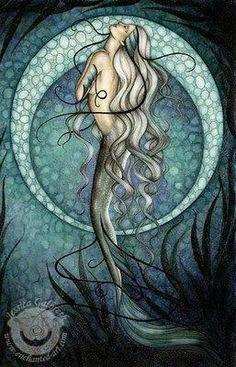 """NEW Jessica Galbreth Fantasy Mermaid Art Print """"Mystic Mermaid"""" Fantasy Mermaids, Real Mermaids, Mermaids And Mermen, Mythical Creatures, Sea Creatures, Tattoo Minimaliste, Mermaid Fairy, Mermaid Tile, Mermaid Glass"""
