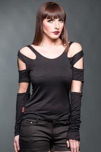 Queen of Darkness - Gothic Shirt mit Cut-Outs und abnehmbaren Ärmeln