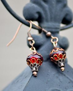 Copper and Blood Red Bead Steampunk Hot air by AestheticAmbrosia, $30.00