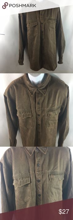 """RedHead Men's Snap Front Shirt Size 2XL Faux Suede Details:  Faux Suede. Color: Brown. Ponted collar and snap front. Snap cuffs.  Tag Size: 2XL  Measurements: Chest (Pit to pit X 2): 58"""" Sleeve Length ( Sleeve seam to cuff): 25.5"""" Total Length ( Shoulder seam to bottom hem): 33.5""""  Materials: 66%Polyester, 34% Cotton  Inventory Number: BG092904 RedHead Shirts Casual Button Down Shirts"""