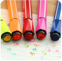 Set of 12 colors Korean gel ink pen color marker pens par JnMstudio with stamp end