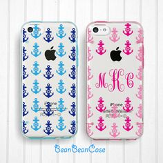 iPhone 6 6 plus case, iPhone 5s 5c 5 case, Clear transparent bumper cover, personalized custom name, Anchors, FREE screen protector (L48)