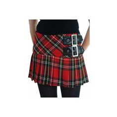 Hell Bunny Chelsea Plaid Belted Mini Skirt - Black/ Red - Punk.com (£21) ❤ liked on Polyvore featuring skirts, mini skirts, short plaid mini skirt, red short skirt, short plaid skirt, short skirts and tartan miniskirts