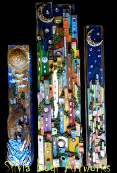 #vertical panels in wood and mixed media mosaic , see more on my FB page https://www.facebook.com/pages/Silvia-Logi-Artworks/121475337893535?fref=photo