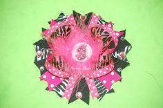 Hot Pink Zebra Birthday Bow.