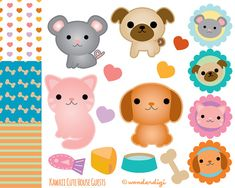 Animal Pets Clip Art - Kawaii Clip art Pet Characters Pattern Icons and Circles Set - INSTANT DOWNLOAD - Digital Stock Illustration on Etsy, $6.00