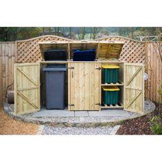 The Garden Village 2 Wheelie Bin 2 Recycle Box Wooden Triple Bin Store | Wayfair UK