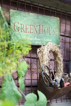 GreenHouse sign and wreath