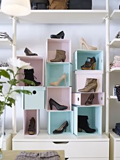 Showcase shoes in DIY painted PRANT boxes!