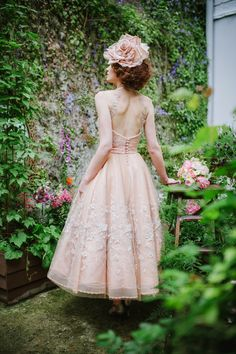 Joanne Fleming Design: 'Tatiana'....peach silk and embellished tulle halter-neck gown