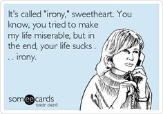 It's called 'irony,' sweetheart. You know, you tried to make my life miserable, but in the end, your life sucks . . . irony.