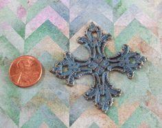 Large Filagree Pewter Turquoise Blue Patina by FairyMountainSupply