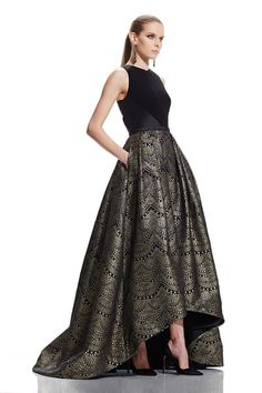 Sleeveless cutaway V-neck and cutout back High- Low gown with crepe bodice and metallic jacquard skirt