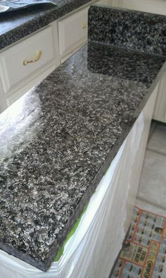 Faux granite counter top- this is my own countertop.  I went to creativekristi.com for a full tutorial