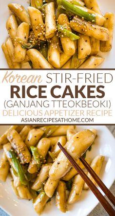 Korean Stir-Fried Rice Cakes (Ganjang Tteokbeoki) - Make our easy Korean Stir-Fr. - Korean Stir-Fried Rice Cakes (Ganjang Tteokbeoki) – Make our easy Korean Stir-Fried Rice Cakes (G - Korean Appetizers, Spicy Appetizers, Appetizer Recipes, Rice Cake Recipes, Rice Cakes, Easy Rice Cake Recipe, Mango Salsa, Kitchen Recipes, Cooking Recipes