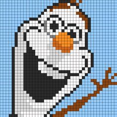 Olaf From Frozen For Perler Perler Bead Pattern / Bead Sprite.  I would use it to crochet each square into granny pixel square to make a crochet blanket