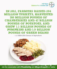 Be #Thankful4Ag this holiday season. Bayer CropScience is donating 20,000 meals to hungry Americans. Click to read and share interesting facts about the role American agriculture plays in feeding the world. Help Bayer CropScience reach their goal of donating 40,000 meals by December 20th!