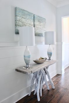 coastal entry, allison wickey art, blue glass lamps, lovelace interiors, 30a interior design, stick console whitewashed entry table Furniture, Entry Table, Interior, Blue Glass, Dining Table, Table, Home Decor, Interior Design, Blue Glass Lamp