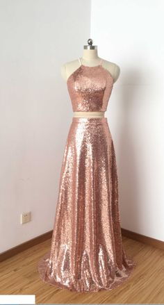 Prom Dresses Ball Gown, Two Piece Rose Gold Sequin Long Prom Dress,Sexy Halter Neckline Bridesmaid Dresses,Long Bridesmaid Dresses 2018 SantaFe Bridal Pretty Prom Dresses, Sexy Dresses, Beautiful Dresses, Formal Dresses, Rose Gold Dresses, Cool Dresses, Rose Gold Long Dress, Pretty Dresses For Teens, Halter Prom Dresses Long