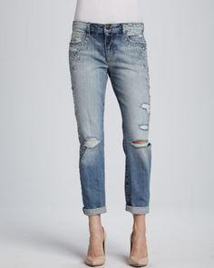 Joe's Jeans Kerilee Easy High Water Jeweled Distressed Jeans