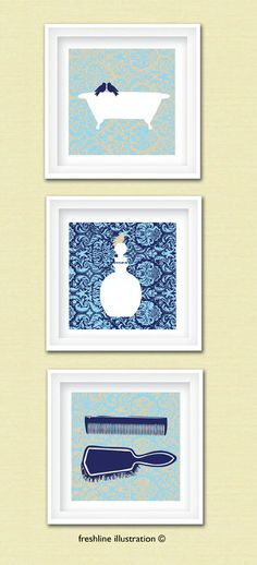 Bathroom Art - Bird Art - Vintage Bathtub Art Print - Bathroom Sign - Perfume Bottle - Set of Three 8x8 Art Prints. $45.00, via Etsy.