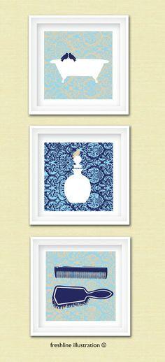 bathroom art bird art vintage bathtub art print bathroom sign perfume bottle