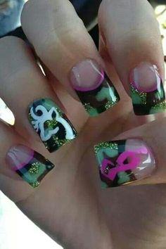 Camo Pink Browning Nails