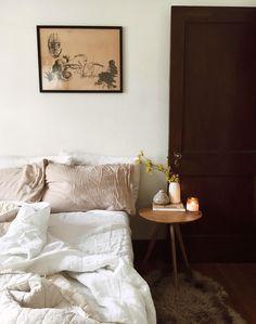 cozy bedroom with neutral decor. / sfgirlbybay