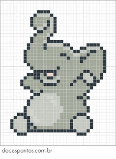 Elephant perler bead pattern - can be used for cross stitch too