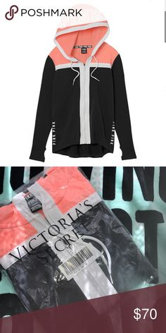 🆕Victoria's Secret PINK High/Low Full Zip 🆕Price Firm unless bundled Shipped in online original packaging..Zip, zip hooray! Stretch fleece hoodie with a high-low hem that covers the rear—just add leggings! Only by Victoria's Secret PINK.  Mid-weight stretch fleece High-low hem Pockets Thumbholes Printed Graphics Imported cotton/polyester/spandex PINK Victoria's Secret Tops Sweatshirts & Hoodies