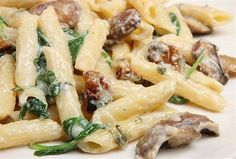 Pasta Penne With Spinach Parmesan Sauce Recipe by debra Pasta Dinner Recipes, Chicken Pasta Recipes, Recipe Pasta, Pasta Dishes, Food Dishes, Dishes Recipes, Food Network Recipes, Cooking Recipes, Cooking Pasta