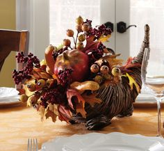 Fall/Harvest Cornucopia Thanksgiving Floral Centerpiece