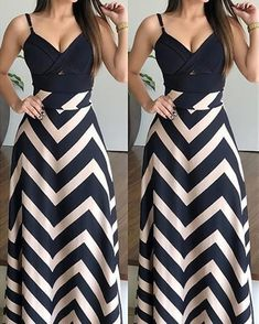 Chevron Striped High Waist Casual Skirt - Fashion Able Dresses For Teens, Trendy Dresses, Nice Dresses, Casual Dresses, Fashion Dresses, Summer Dresses, Work Dresses, Casual Clothes, Summer Clothes