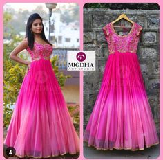 Here is the Pink LongFrock Girls all time Favorite Color is back in MugdhaArtStudioProduct code : Order with us :Please reach out 9010906544 (whatsapp)For Call: 8899840840 (IVR) 25 January 2017 Kurta Designs, Half Saree Designs, Kurti Designs Party Wear, Indian Long Dress, Indian Gowns Dresses, Dresses Dresses, Long Gown Dress, Frock Dress, Designer Anarkali Dresses