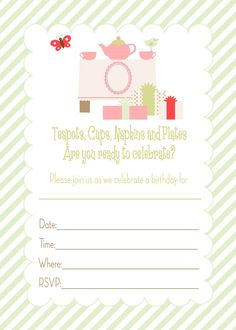 Free Printable Tea Party Birthday Invitation Theme Girls