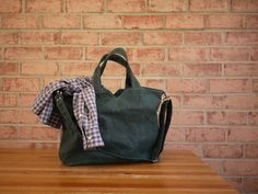 Waxed Canvas Zipper Tote Messenger Vegan Carry All Day by solaWu