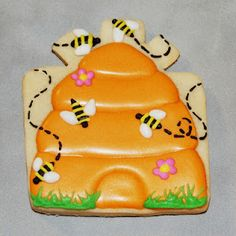 Totally cute beehive cookie made from the present cutter